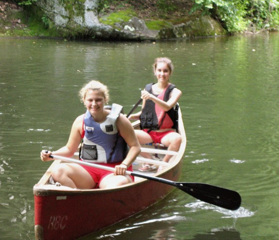 Canoeing Girls at Summer Camp