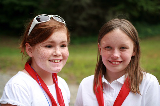 two camp girls in uniform