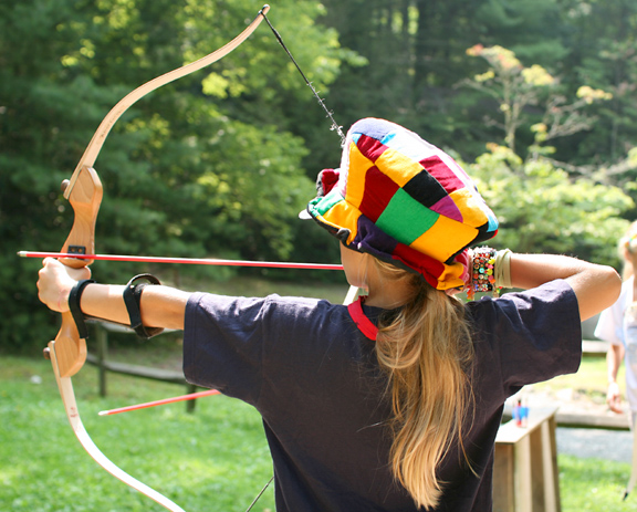 Shooting Archery at Camp