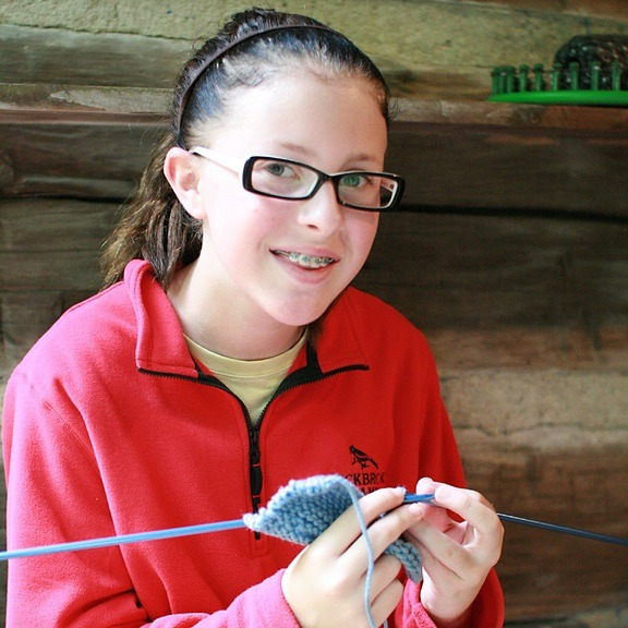 crafts with girls knitting