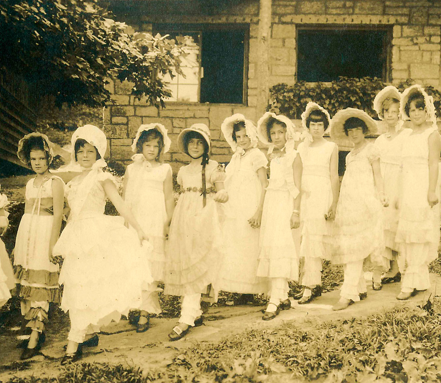 little girls dressed up at summer camp