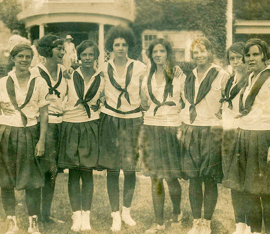 very old photo of teens at rockbrook camp