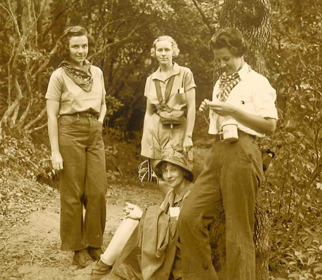 cool girls hiking in the 1930s
