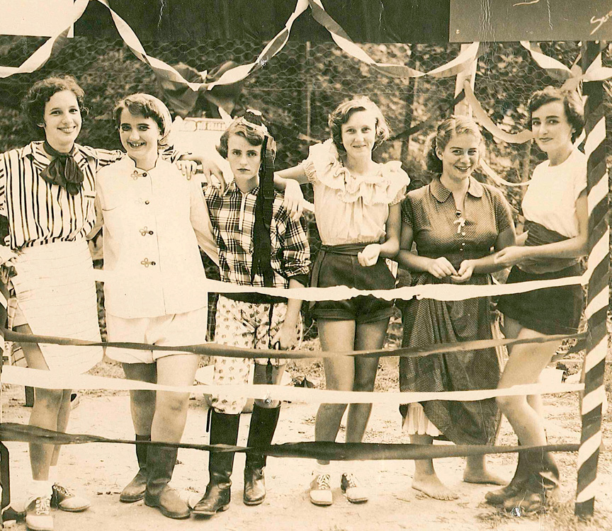 zany costume party at 1930s camp