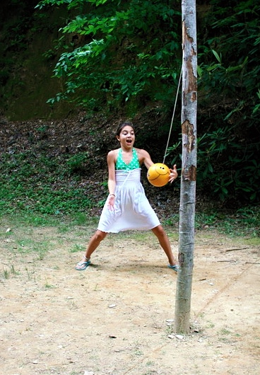 Girl Playing Tetherball