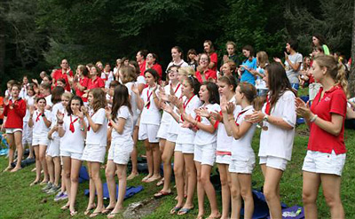 children assemble for camp opening ceremony