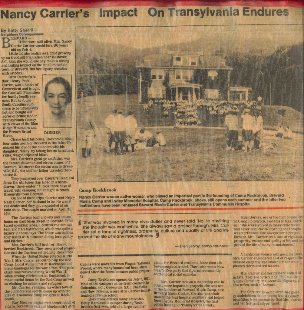 Nancy Carrier, Founder of Rockbrook Camp, featured in The Transylvania Times