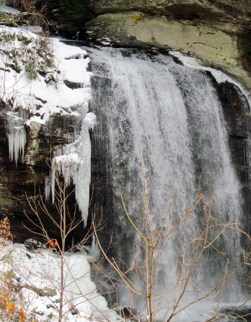 Snow Waterfall Near Camp