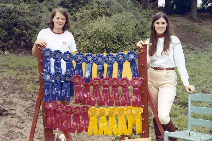 Campers each receive a ribbon during the Rockbrook horse show