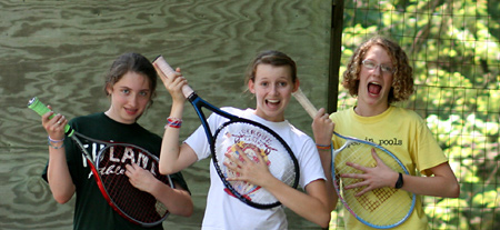 Girls Camp plays tennis