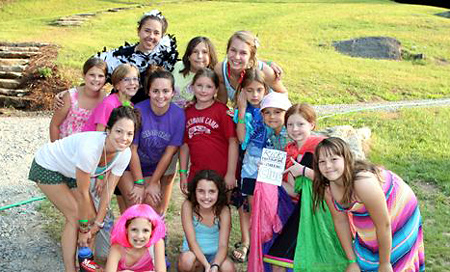 Dressed up little girls at camp