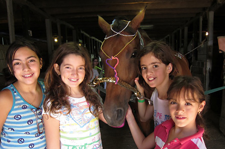 Campers decorate a horse