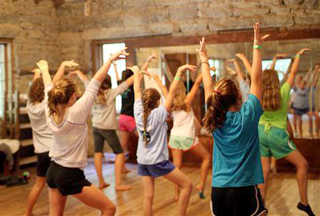 Girls dancing in camp dance studio
