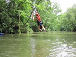 Rope Swing girl at camp