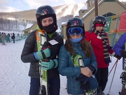 Evie and Sarah skiing