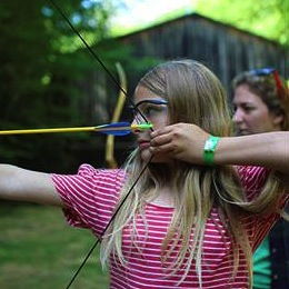Girls Aims Archery bow and arrow