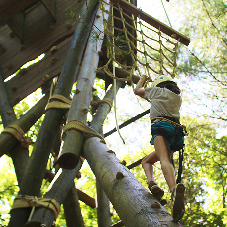 Girl climbing high ropes course at summer camp