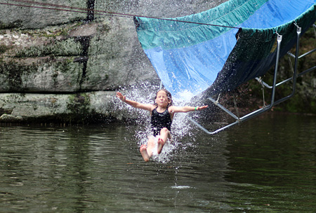 Girl plunges down water slide