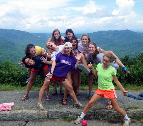 Camp Cabin of Girls poses on Parkway