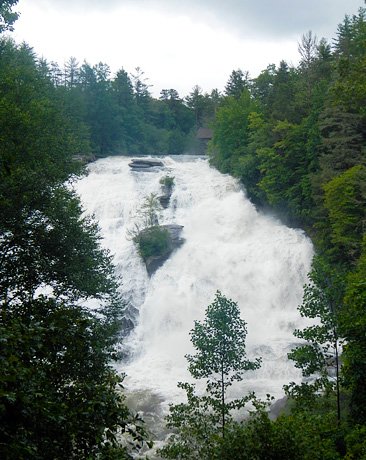 High water on High Falls in North Carolina
