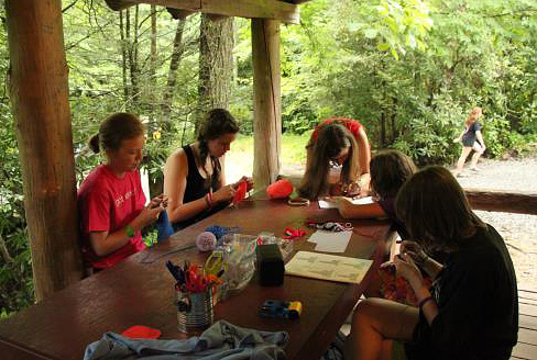 Girls camp knitters
