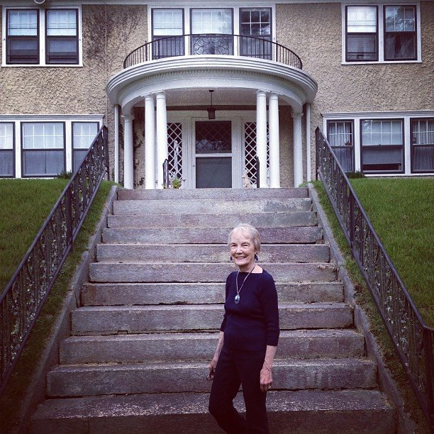 Carrier Niece in front of the Carrier House