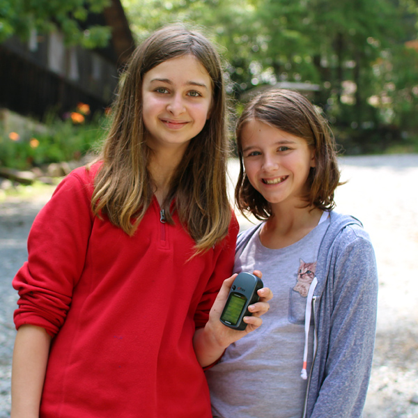 Camp girls geocaching