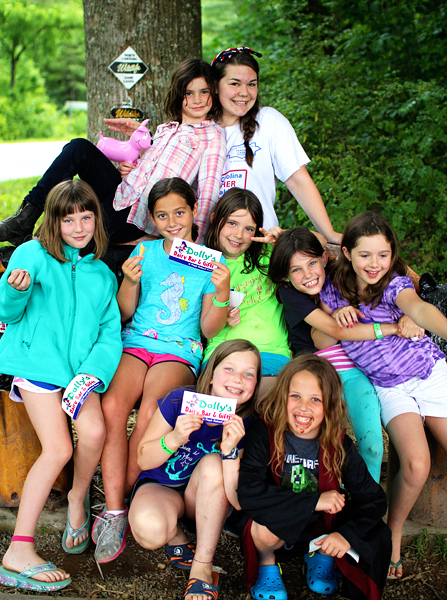 Young kids happy at summer camp