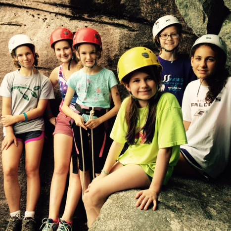 group of rock climbing girls