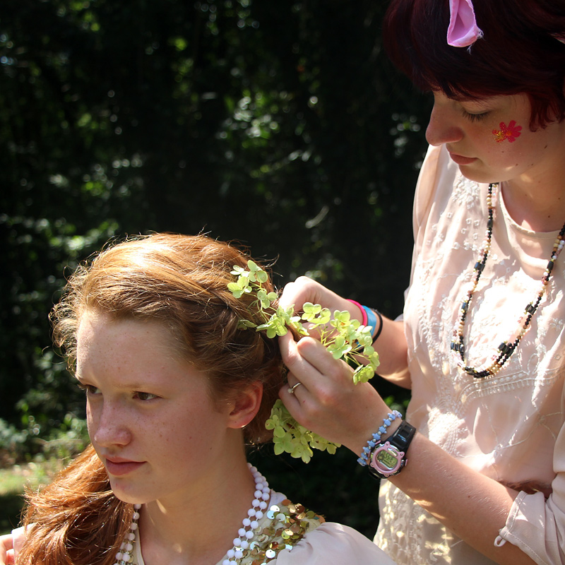 Festival Hair Styling with flowers