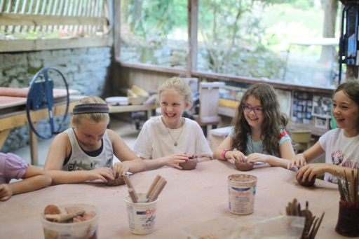 pottery class at summer camp