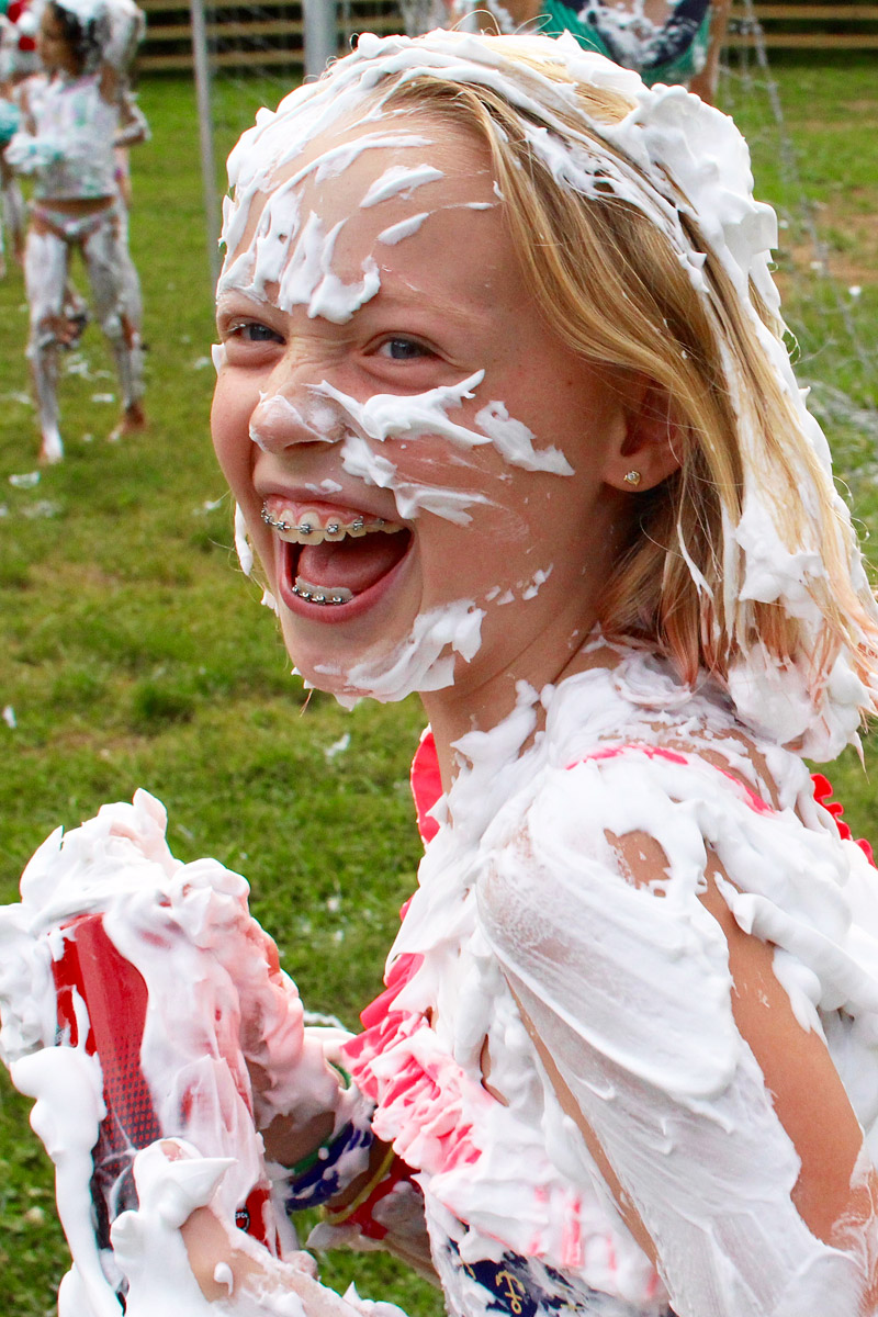 smiling with shaving cream