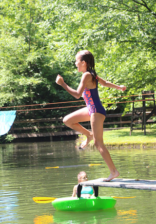 Camp jump in the lake
