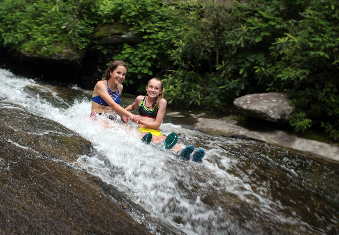 Girls Sliding Rock