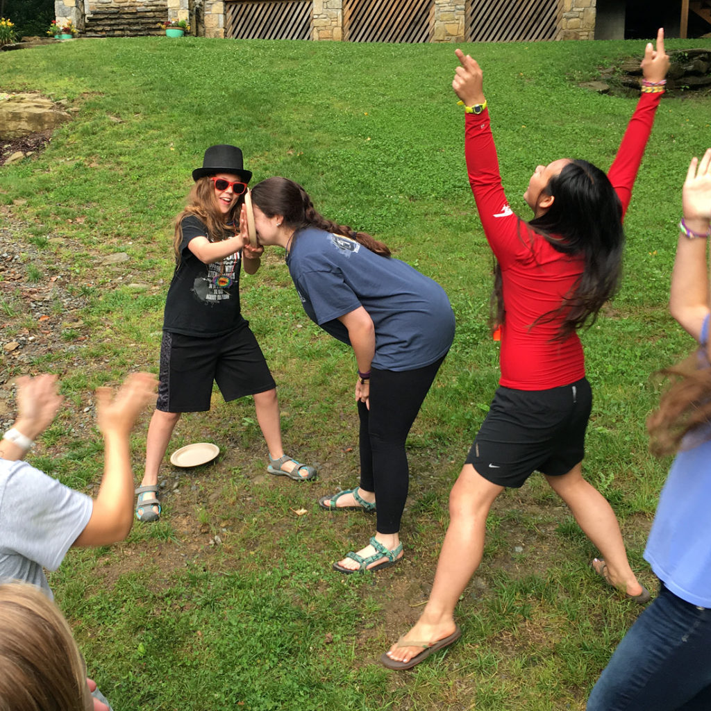 Pie in face of counselor