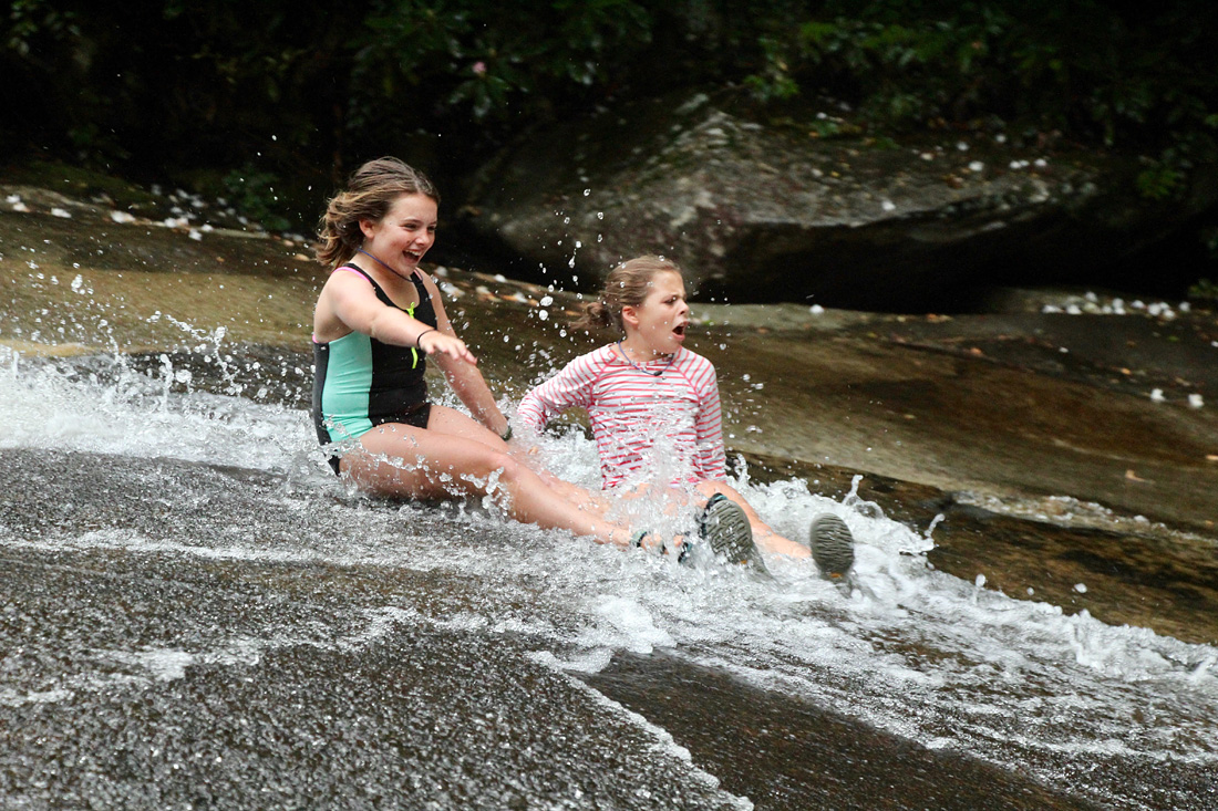 Grinning sliding rock camp girls