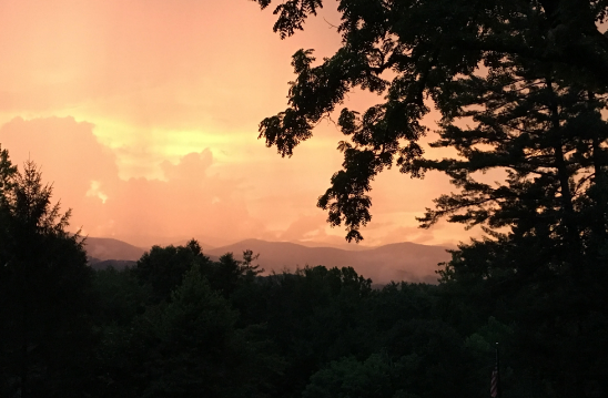 view of NC mountains at sunset