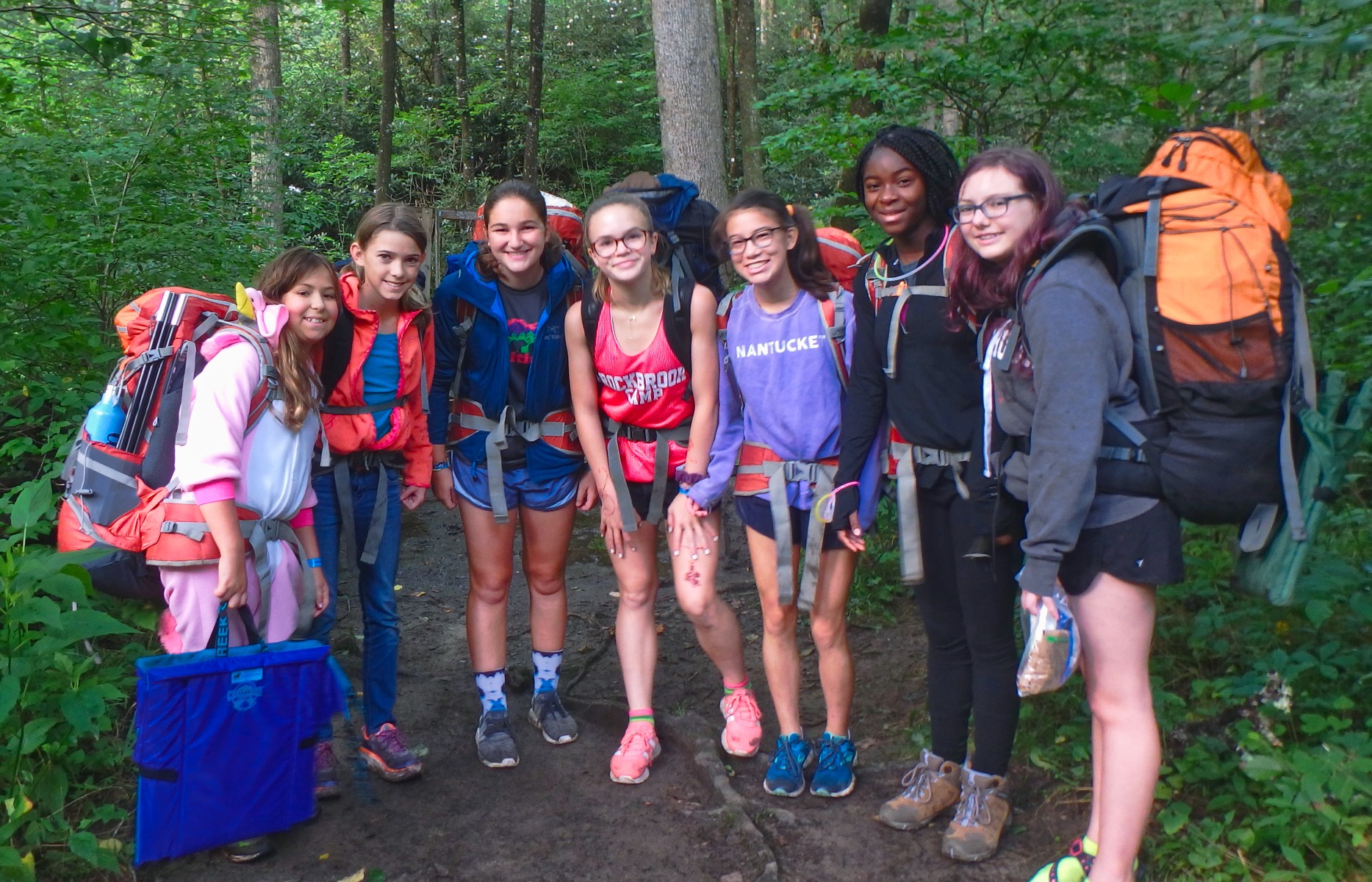 camp girls on backpacking trip