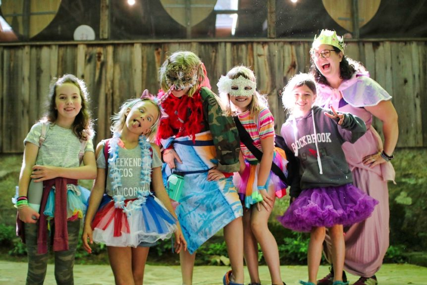 costume hikers at summer camp