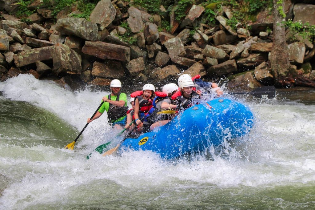 girls camp rafting