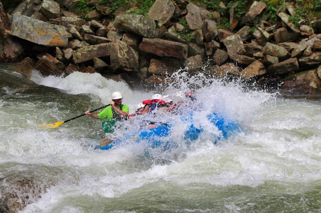 whitewater rafting splash