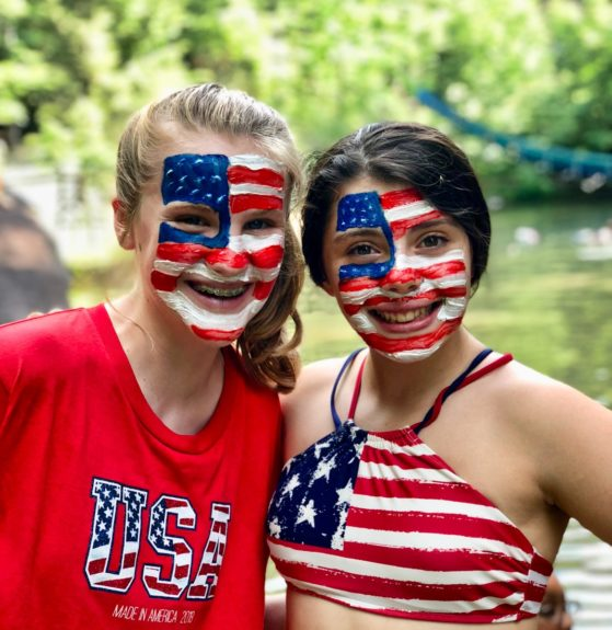 4th of July painted face girls