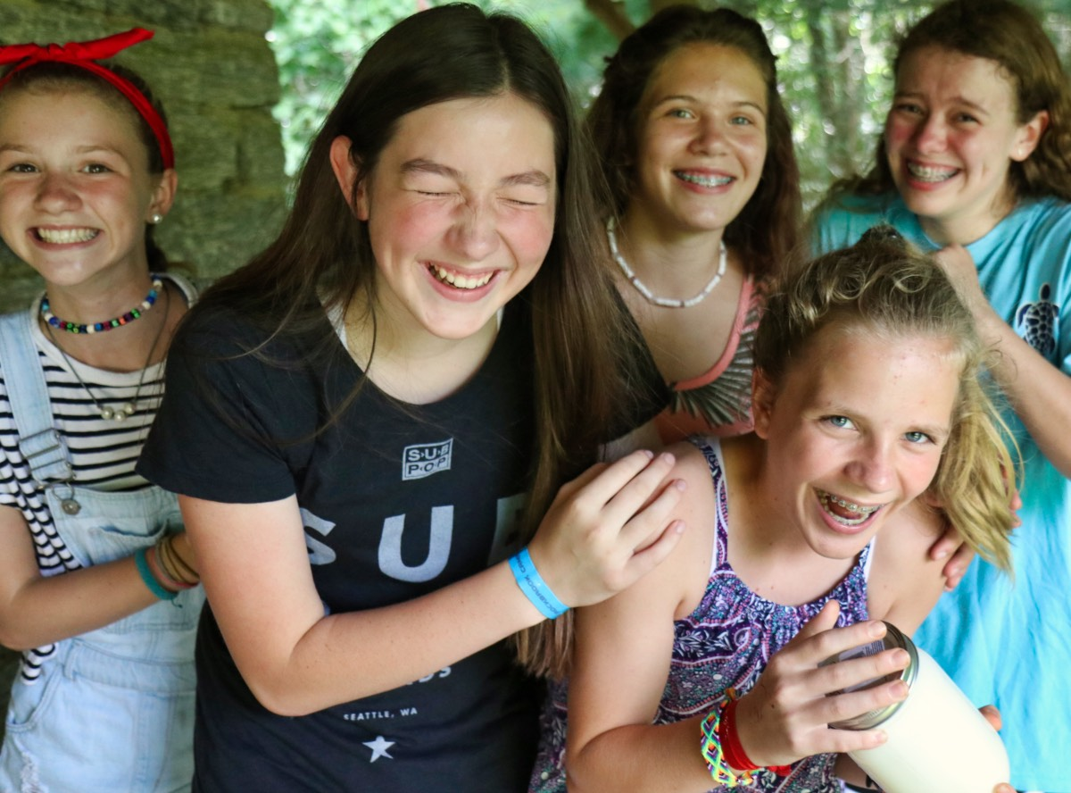butter making teens at camp
