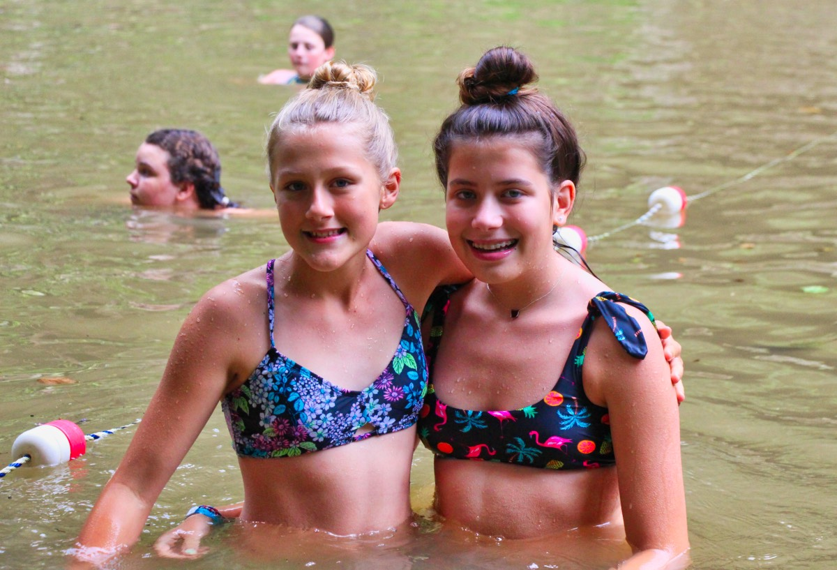 swimming friends at camp