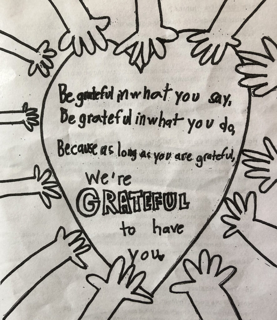 Gratitude program at camp