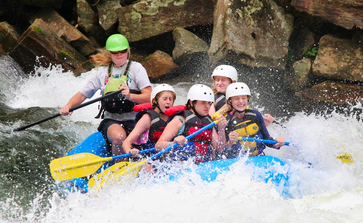 whitewater rafting group thrilled