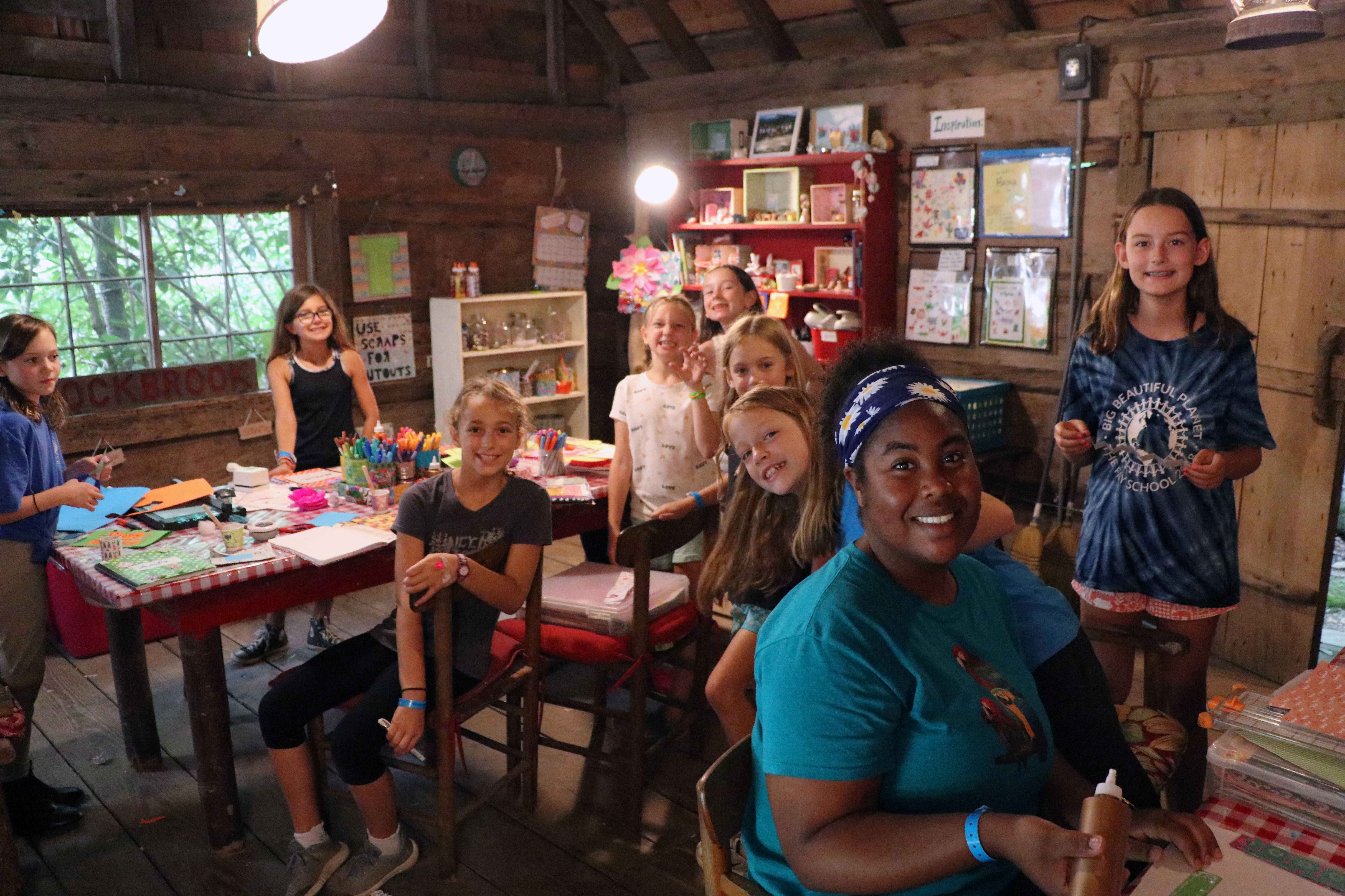Girls in arts and crafts cabin