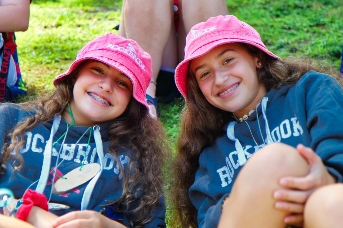 Girls dressed as twins at summer camp