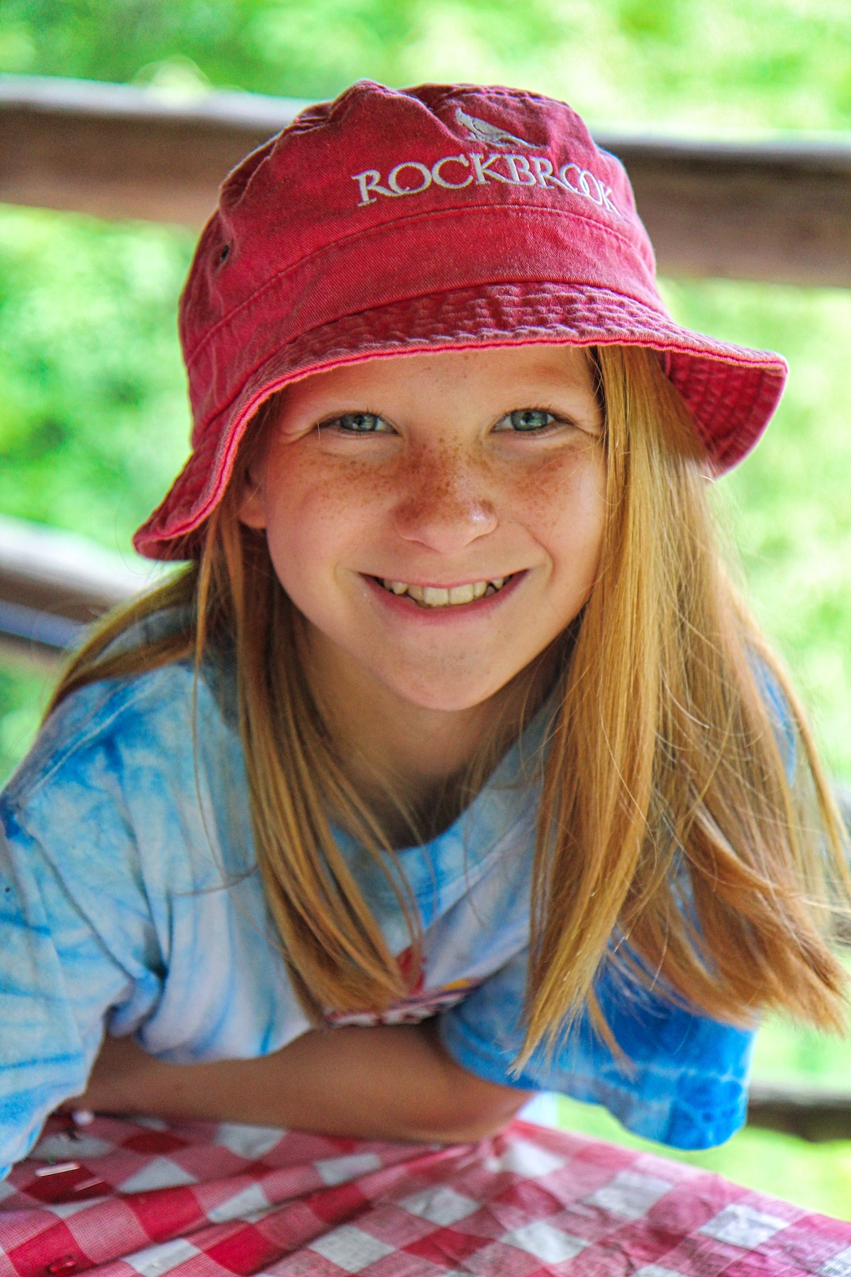 beautiful camp girl wearing Rockbrook bucket hat