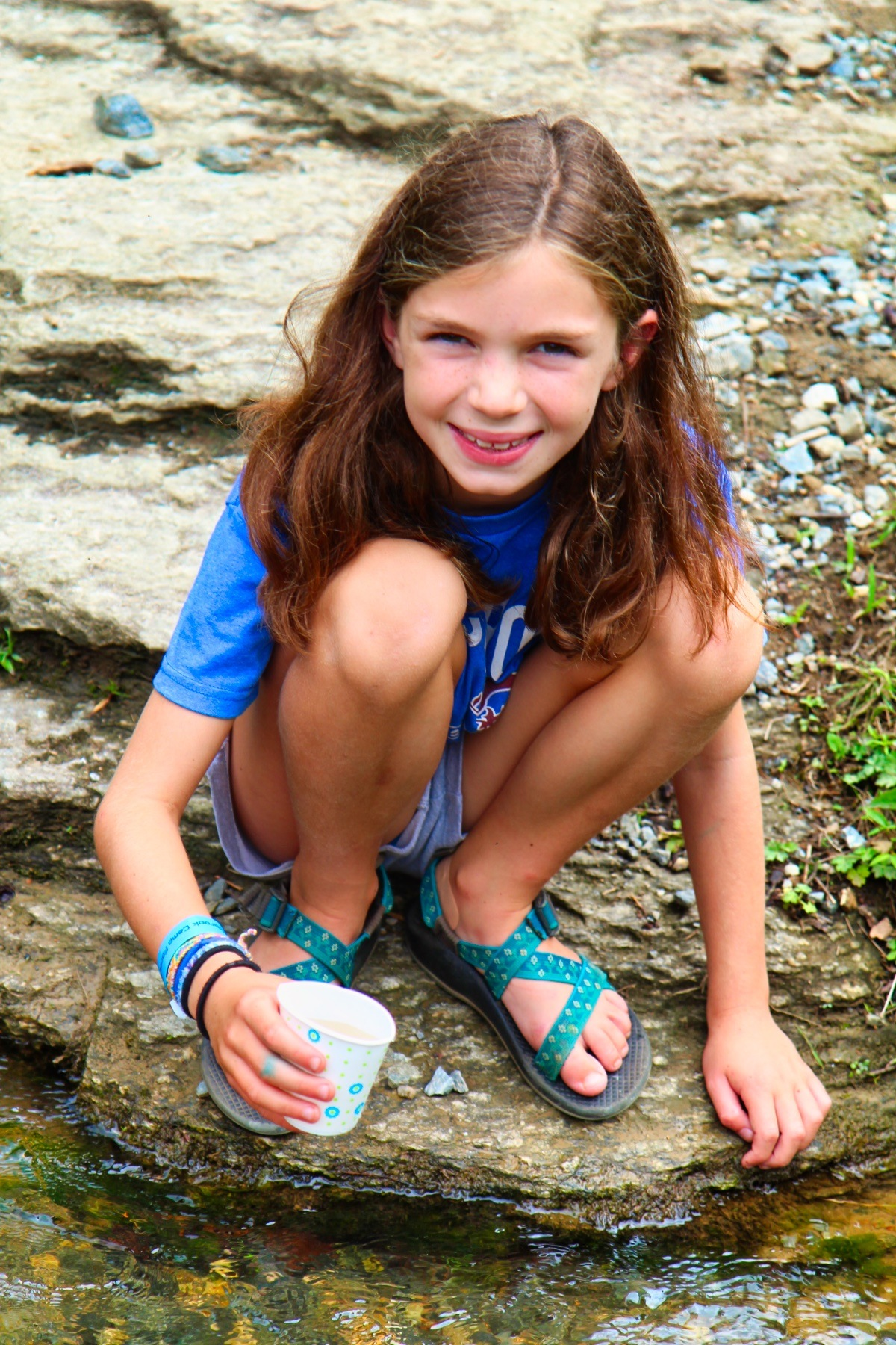 catching tadpoles at summer camp
